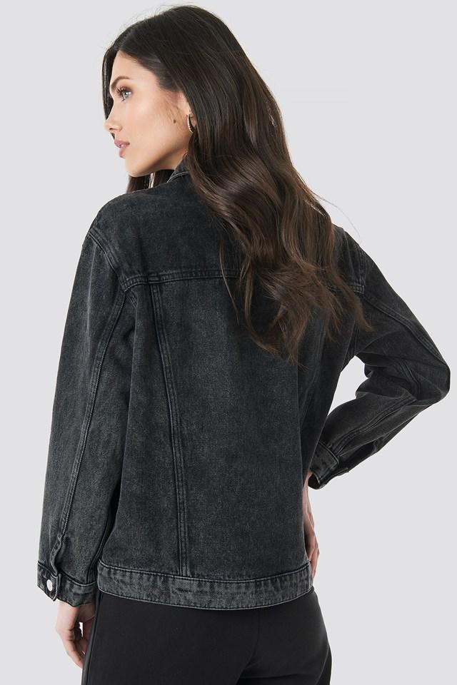 Long Oversized Denim Jacket Black