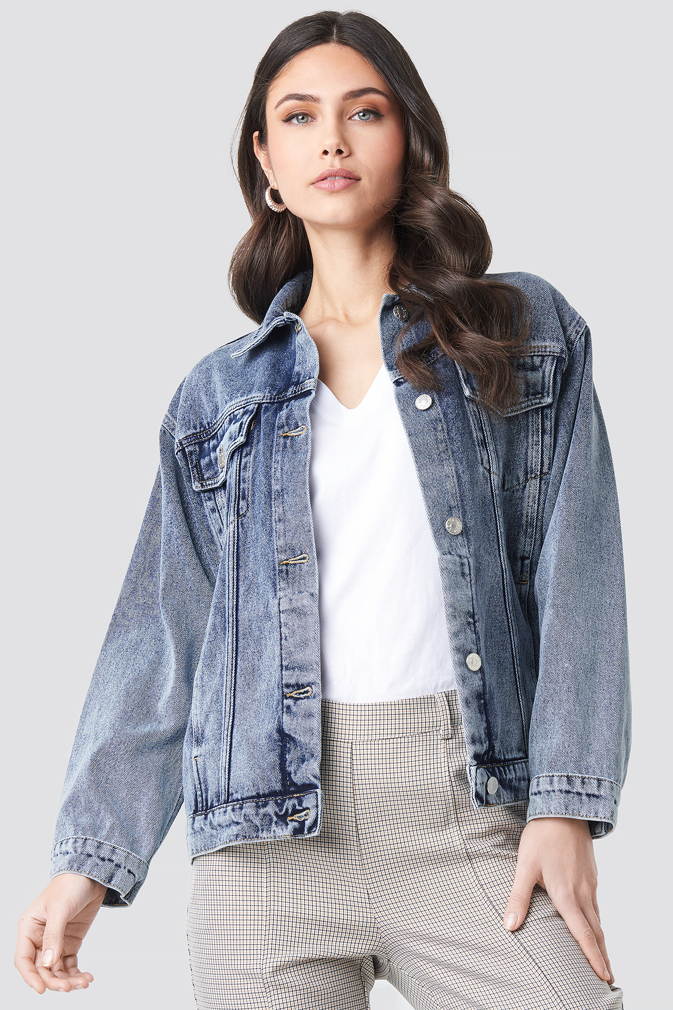 Long Oversized Denim Jacket NA-KD.COM