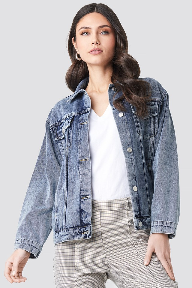 Long Oversized Denim Jacket Mid Blue