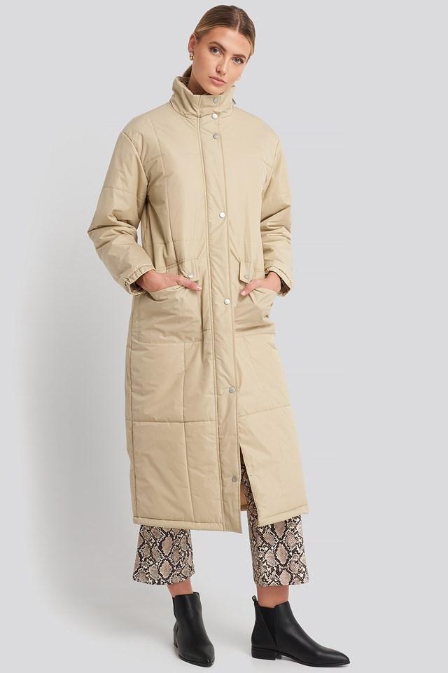 Long Padded Jacket Beige