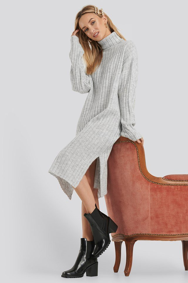 Long Rib Knitted Polo Dress Grey Melange
