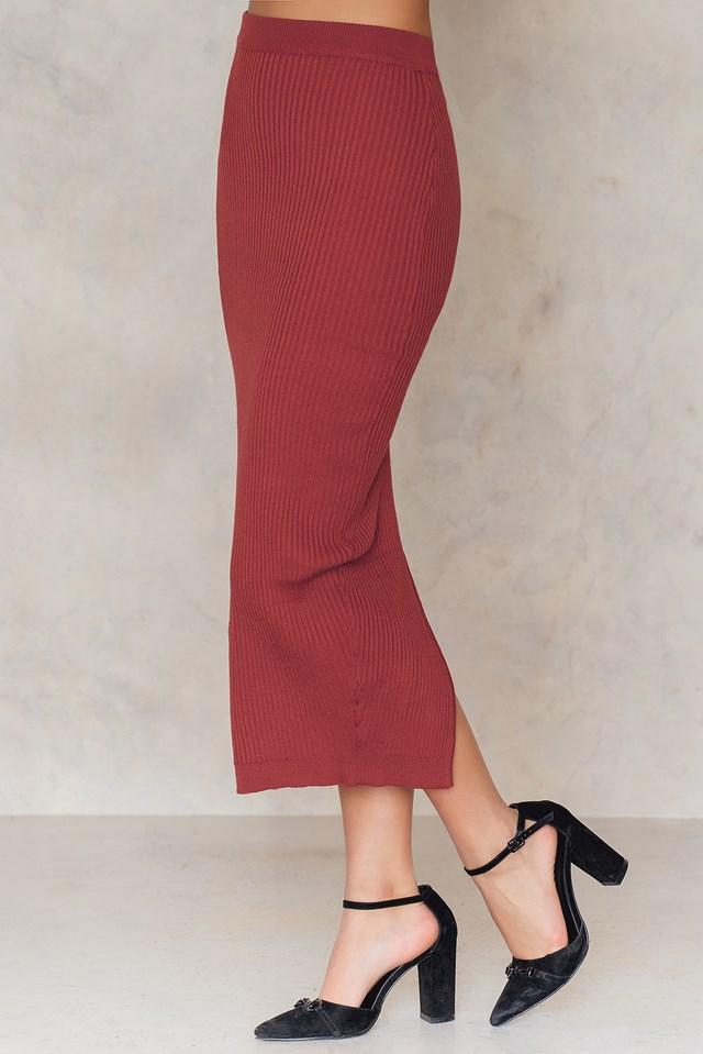 Long Rib Knitted Slit Back Skirt Rustic Red