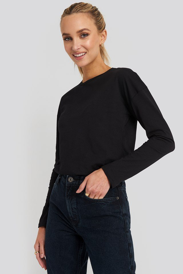 Long Sleeve Basic Top Black