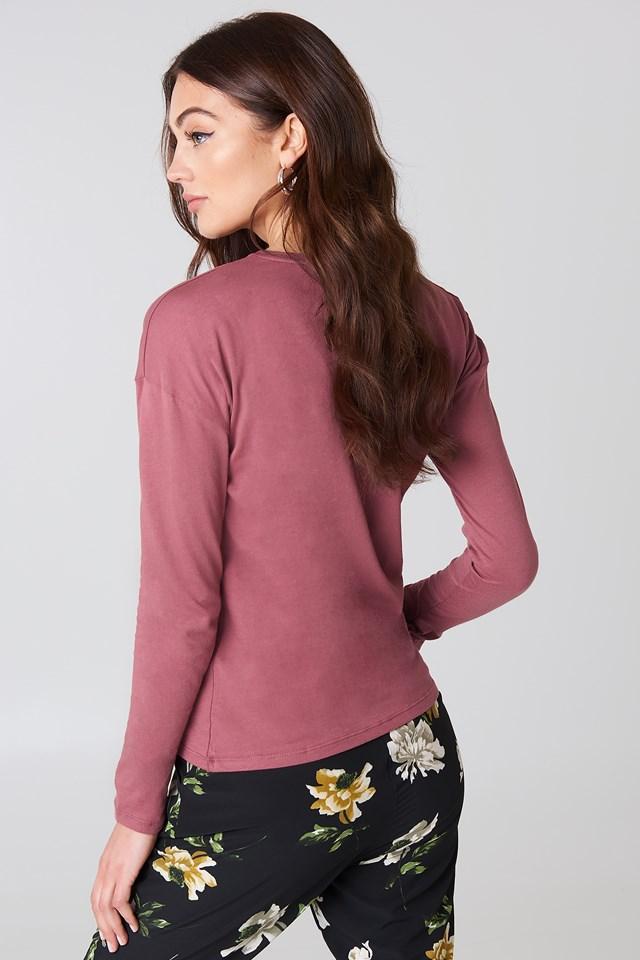 Long Sleeve Basic Top Purple Rose
