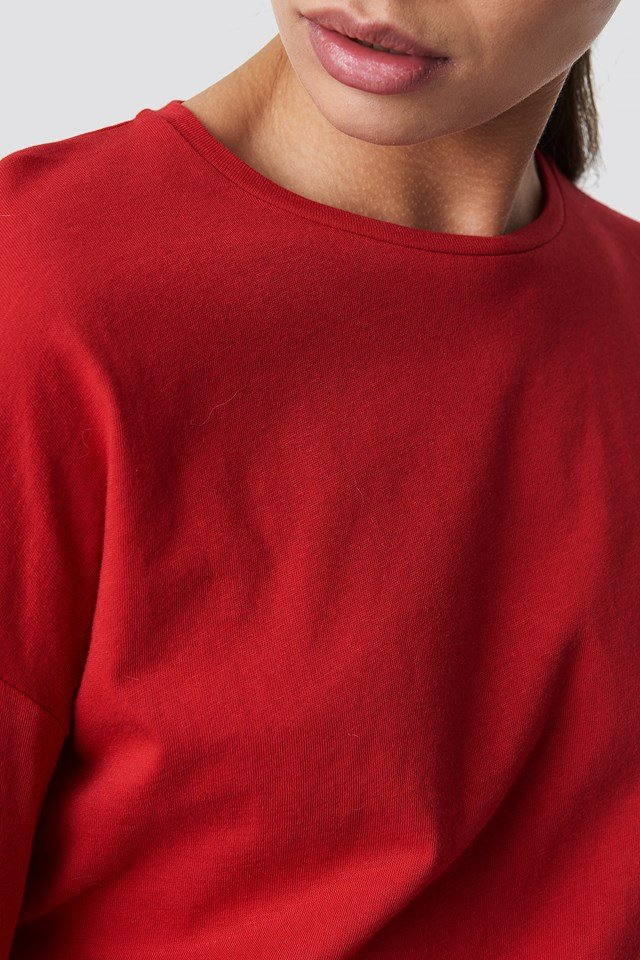 Long Sleeve Basic Top Red