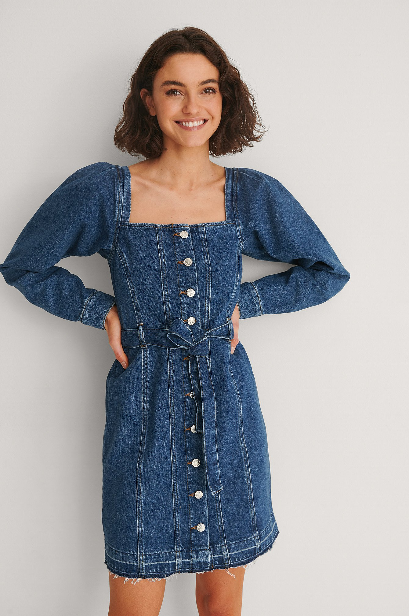 Mid Blue Long Sleeve Belted Denim Dress