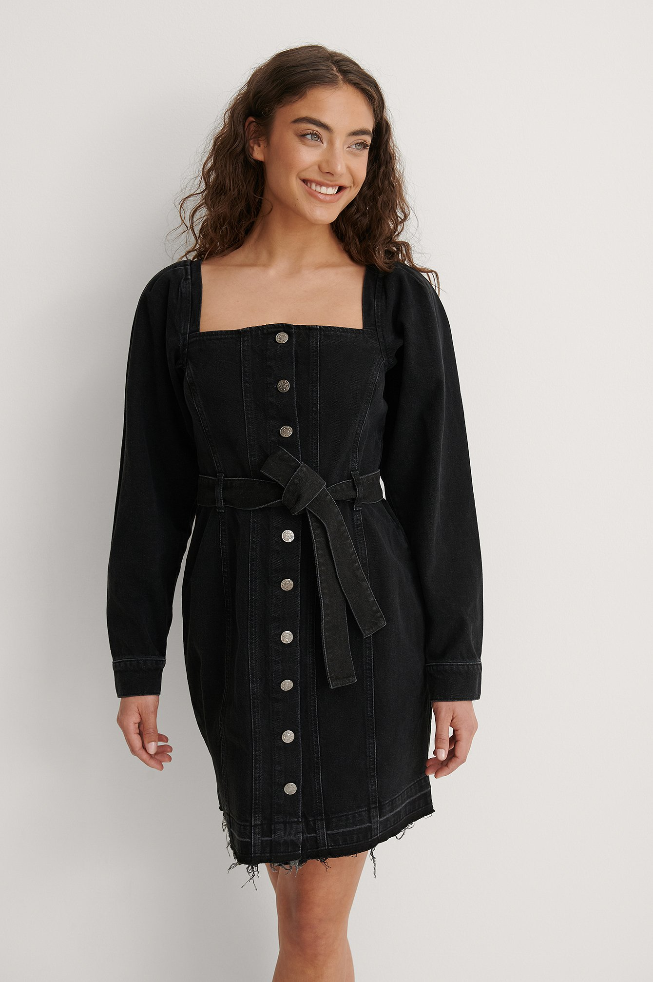 Washed Black Long Sleeve Belted Denim Dress