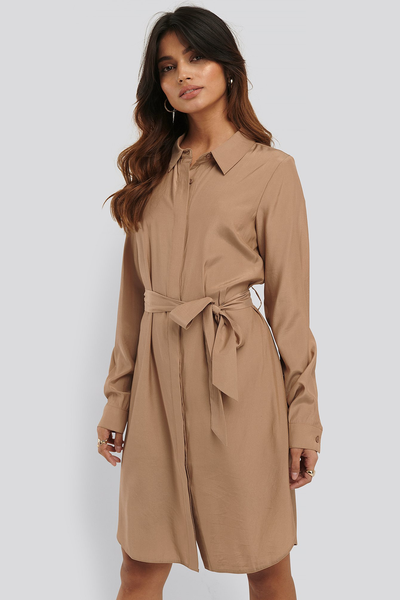 NA-KD Hemdkleid - Beige | Bekleidung > Kleider > Blusenkleider | NA-KD