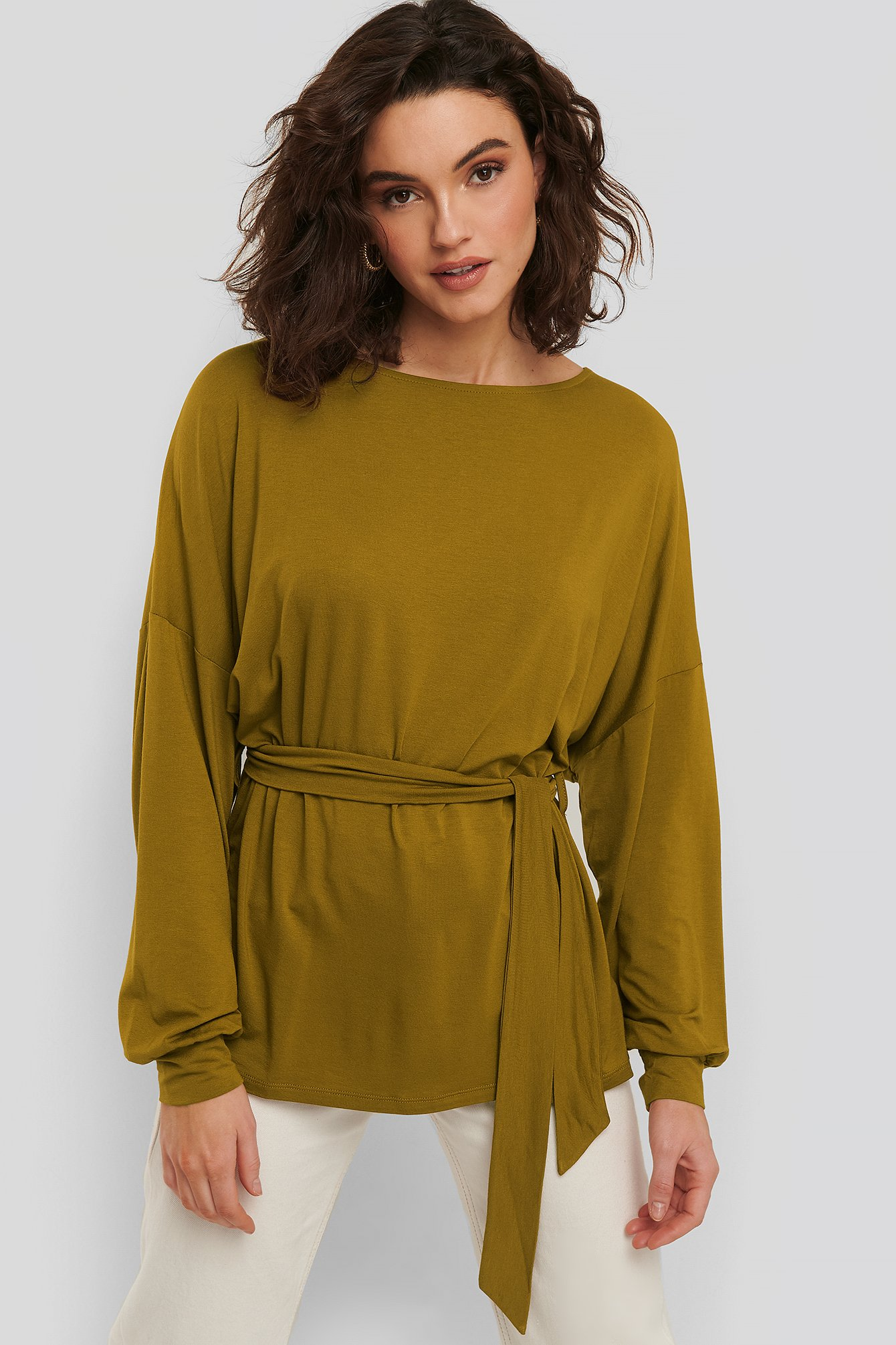 NA-KD Belted Long Sleeve Top - Green
