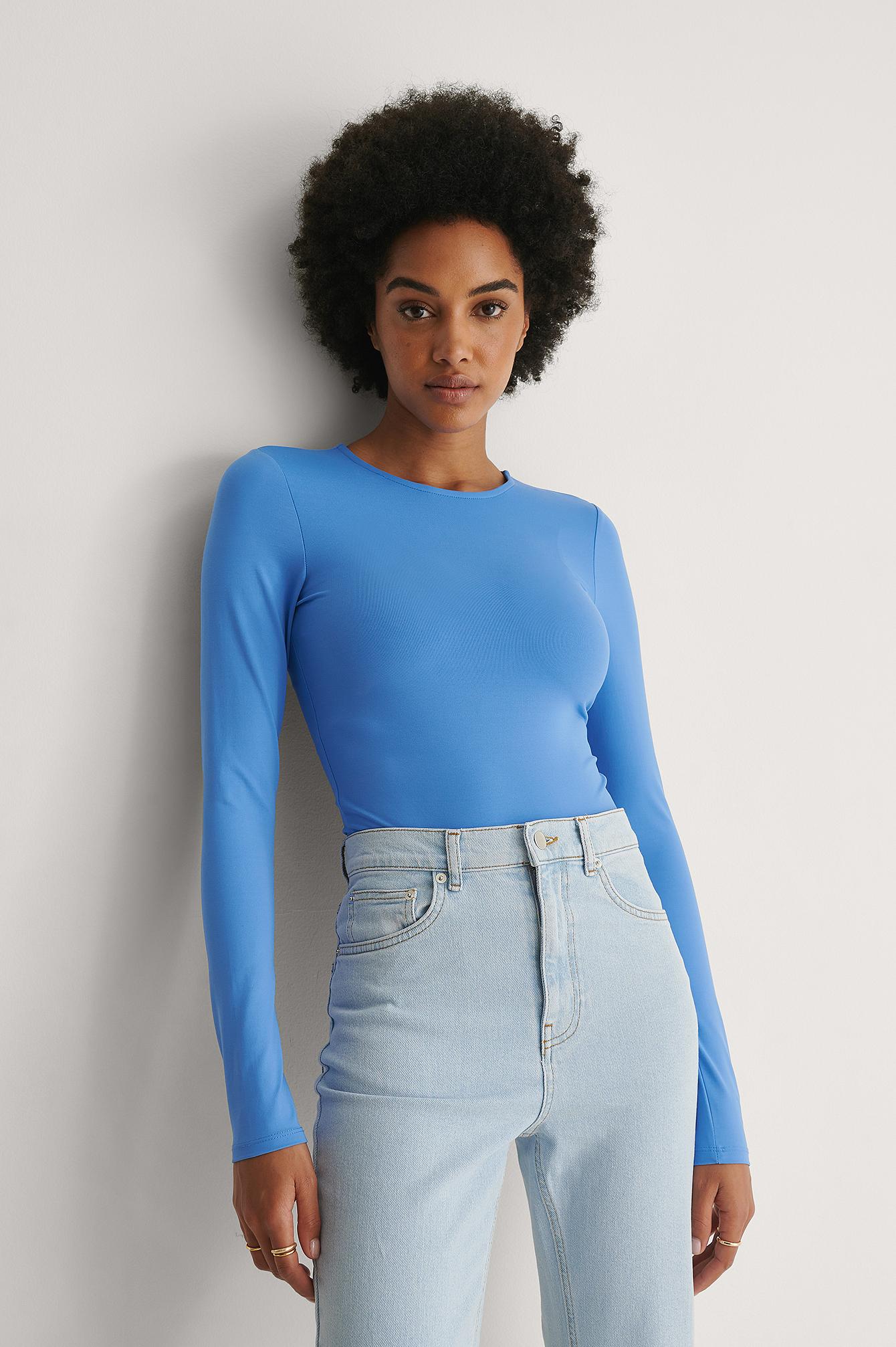khaoula x na-kd -  Bodysuit Mit Langen Ärmeln - Blue
