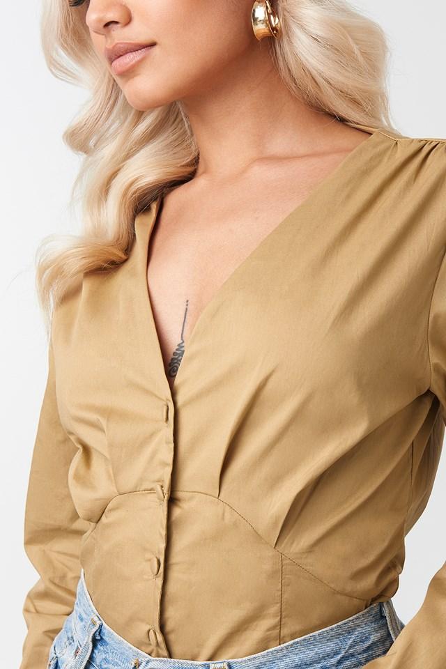 Bluzka z guzikami Beige