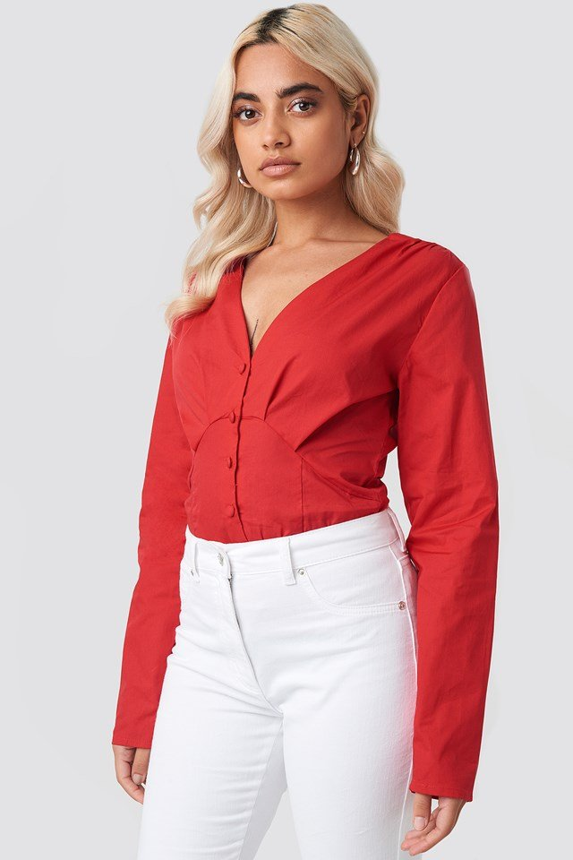 Long Sleeve Buttoned Blouse NA-KD Trend