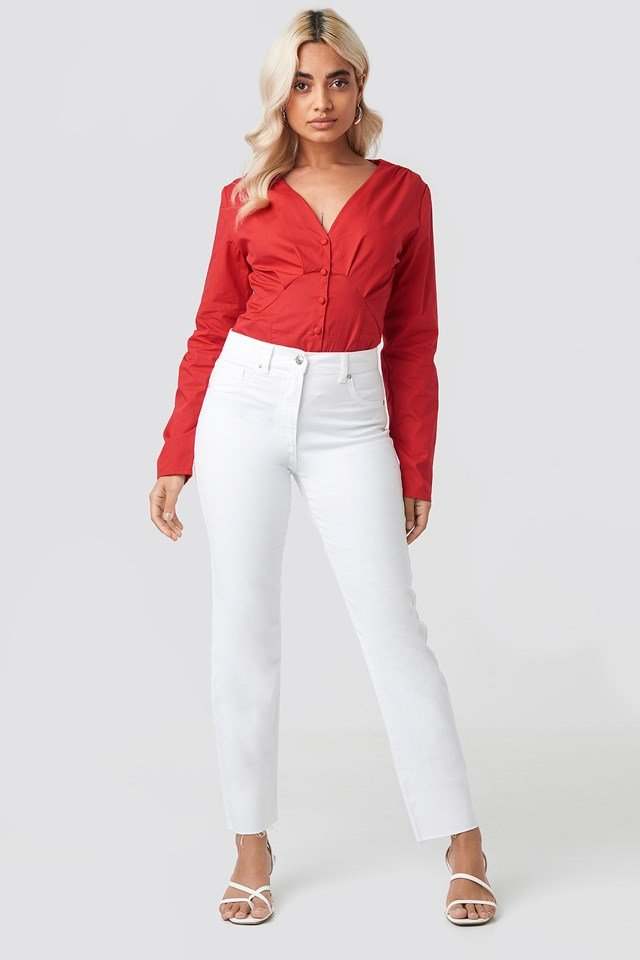 Long Sleeve Buttoned Blouse Red