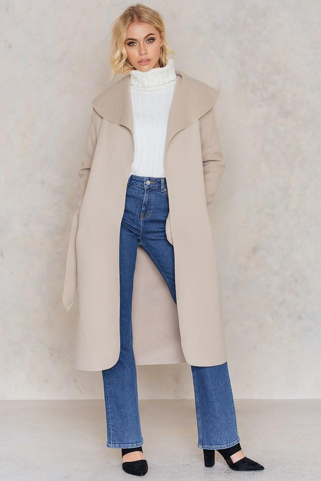 Long Sleeve Coat Beige
