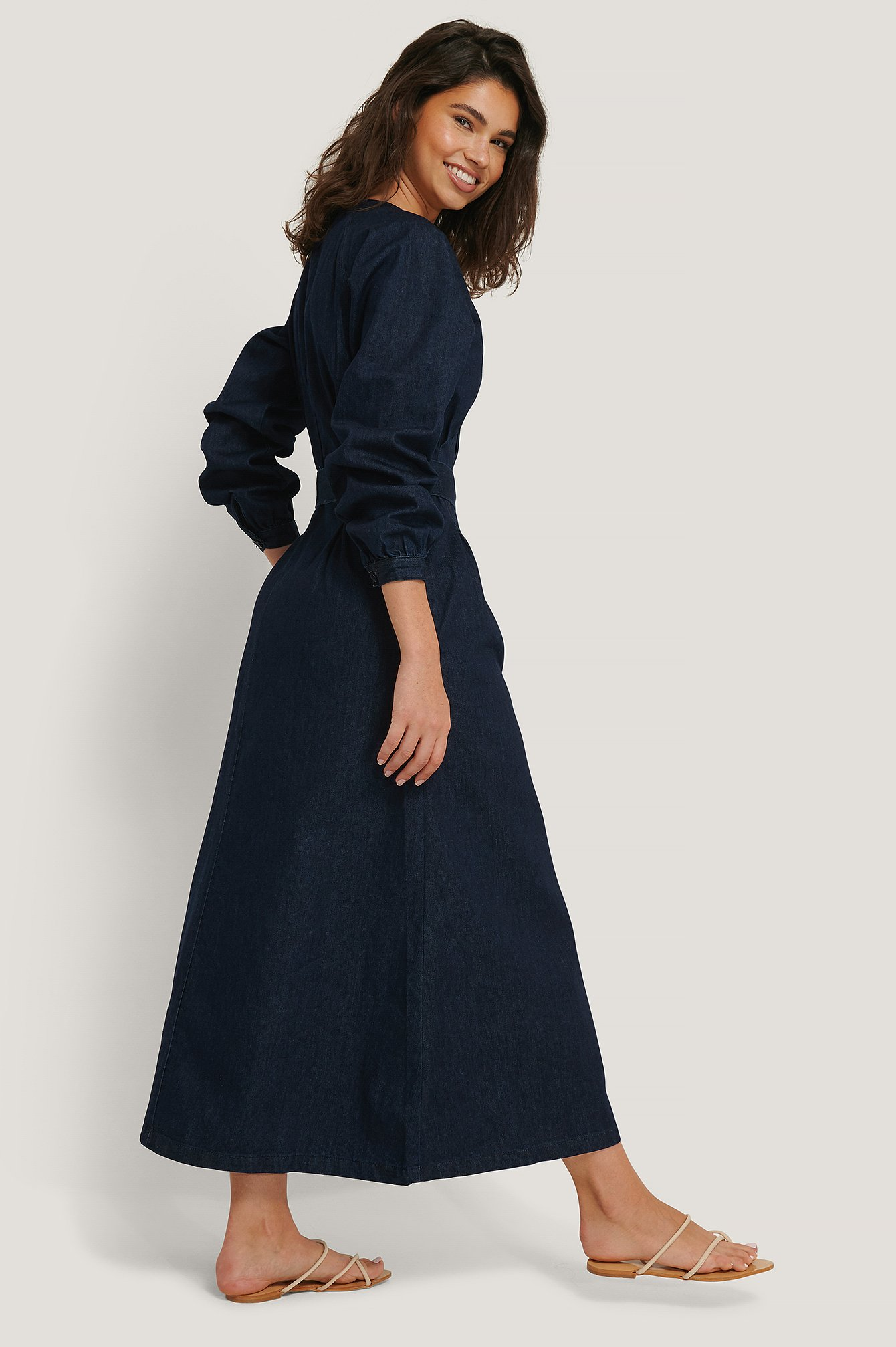 Dark Blue Long Sleeve Denim Dress