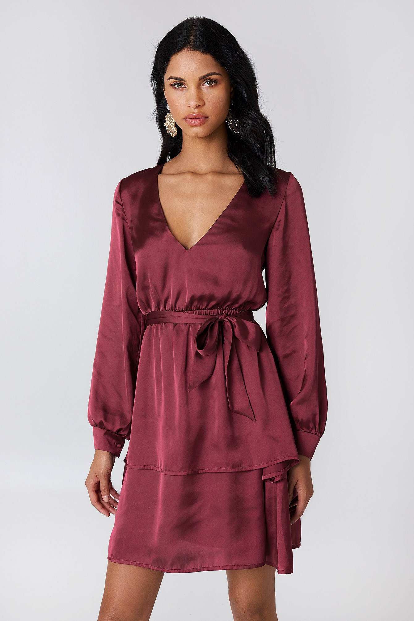 Long Sleeve Flounce Dress NA-KD.COM