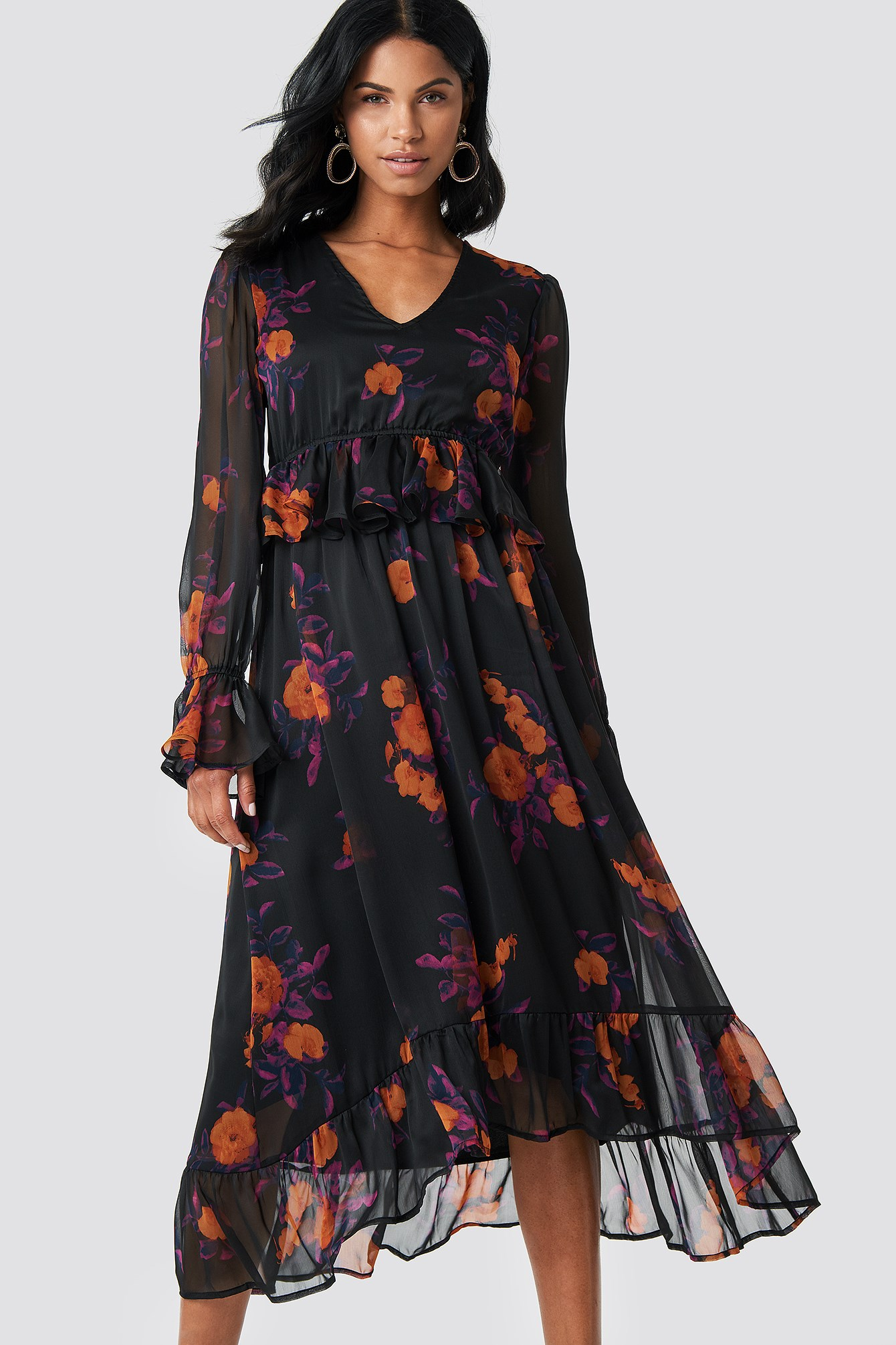 Long Sleeve Flounce Midi Dress NA-KD.COM