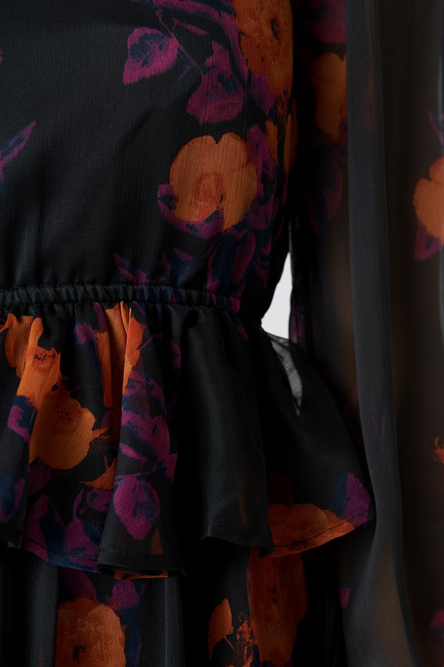 Long Sleeve Flounce Midi Dress Orange/Purple Print