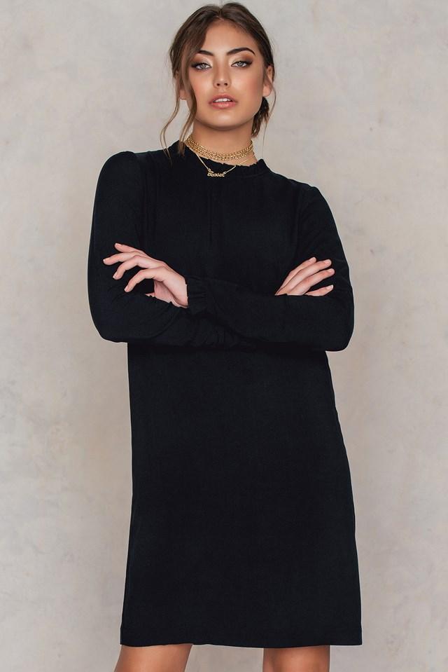 Long Sleeve Frill Dress Black