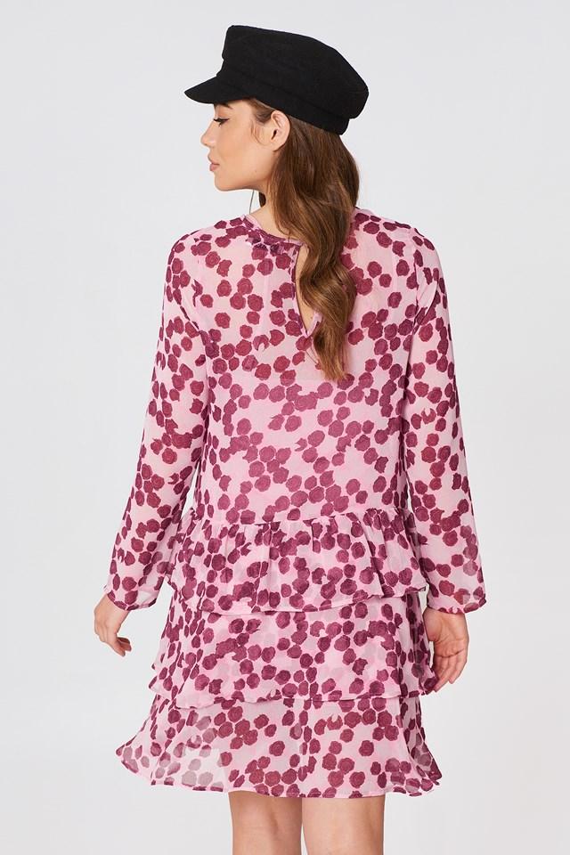 Sukienka z długim rękawem Pink/Burgundy Roses