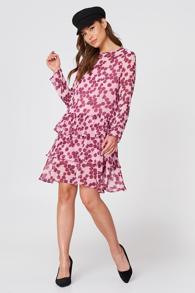 Long Sleeve Frill Dress Pink/Burgundy Roses