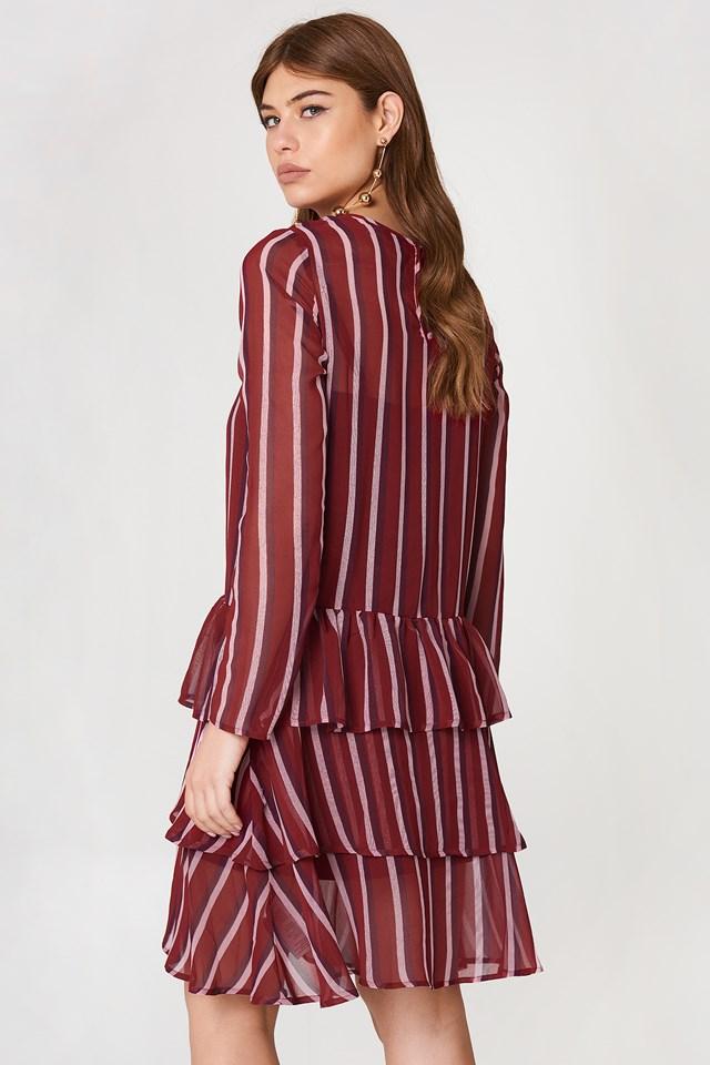 Long Sleeve Frill Dress Burgundy Triple Stripes