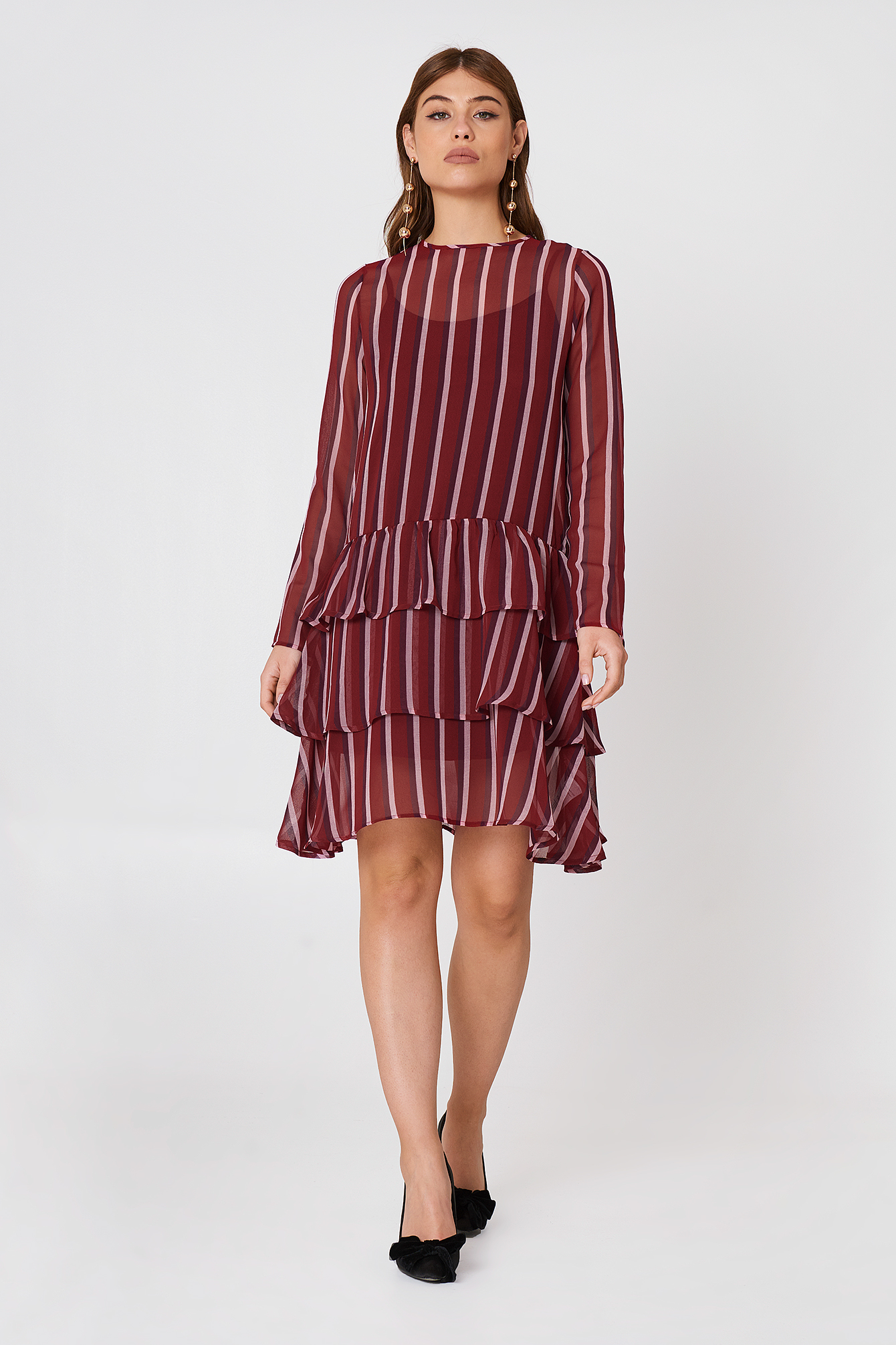 Long Sleeve Frill Dress NA-KD.COM
