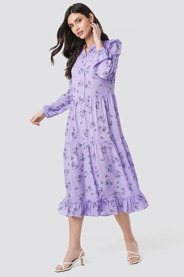 Long Sleeve Front Button Ankle Dress Printed