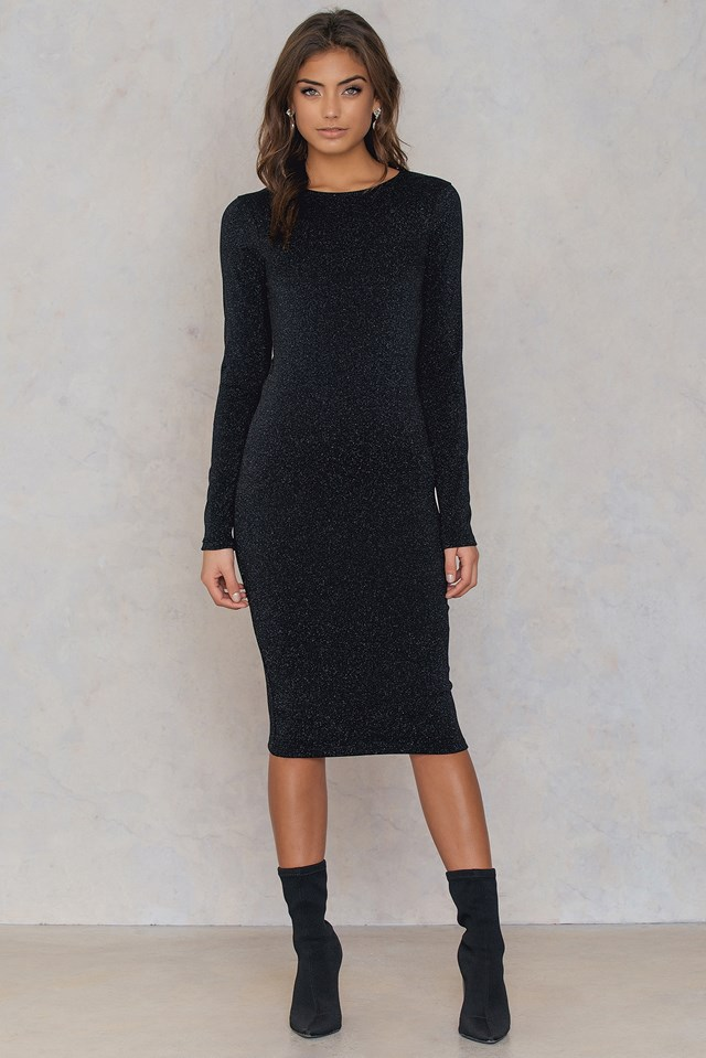 Long Sleeve Glittery Dress Black