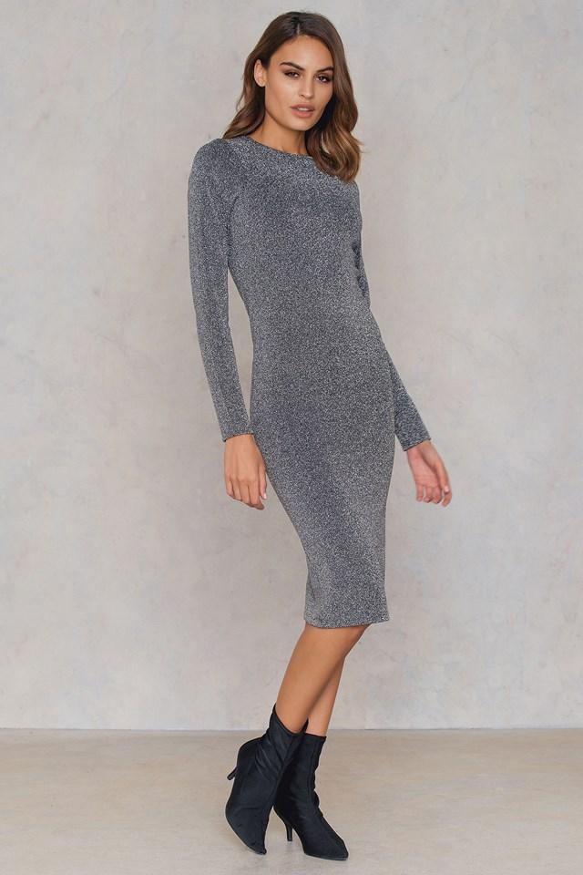 Long Sleeve Glittery Dress Silver