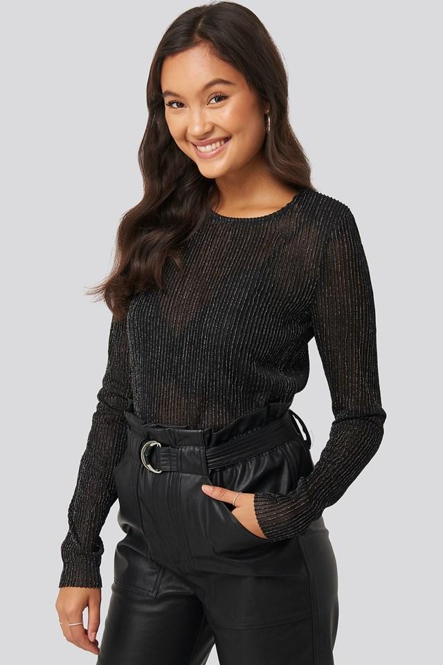 Long Sleeve Glittery Top Black