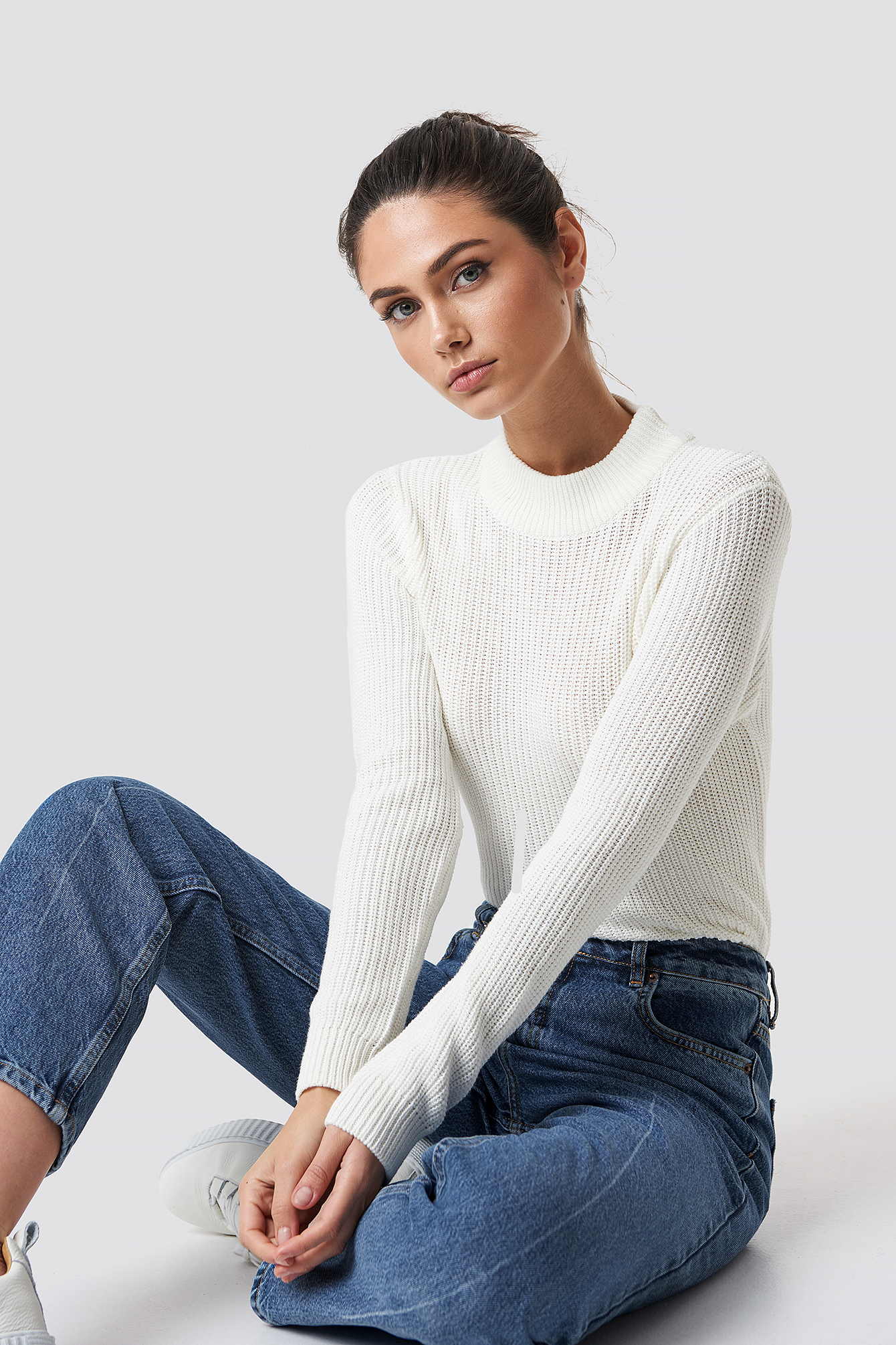 na-kd -  Long Sleeve Knitted Sweater - White