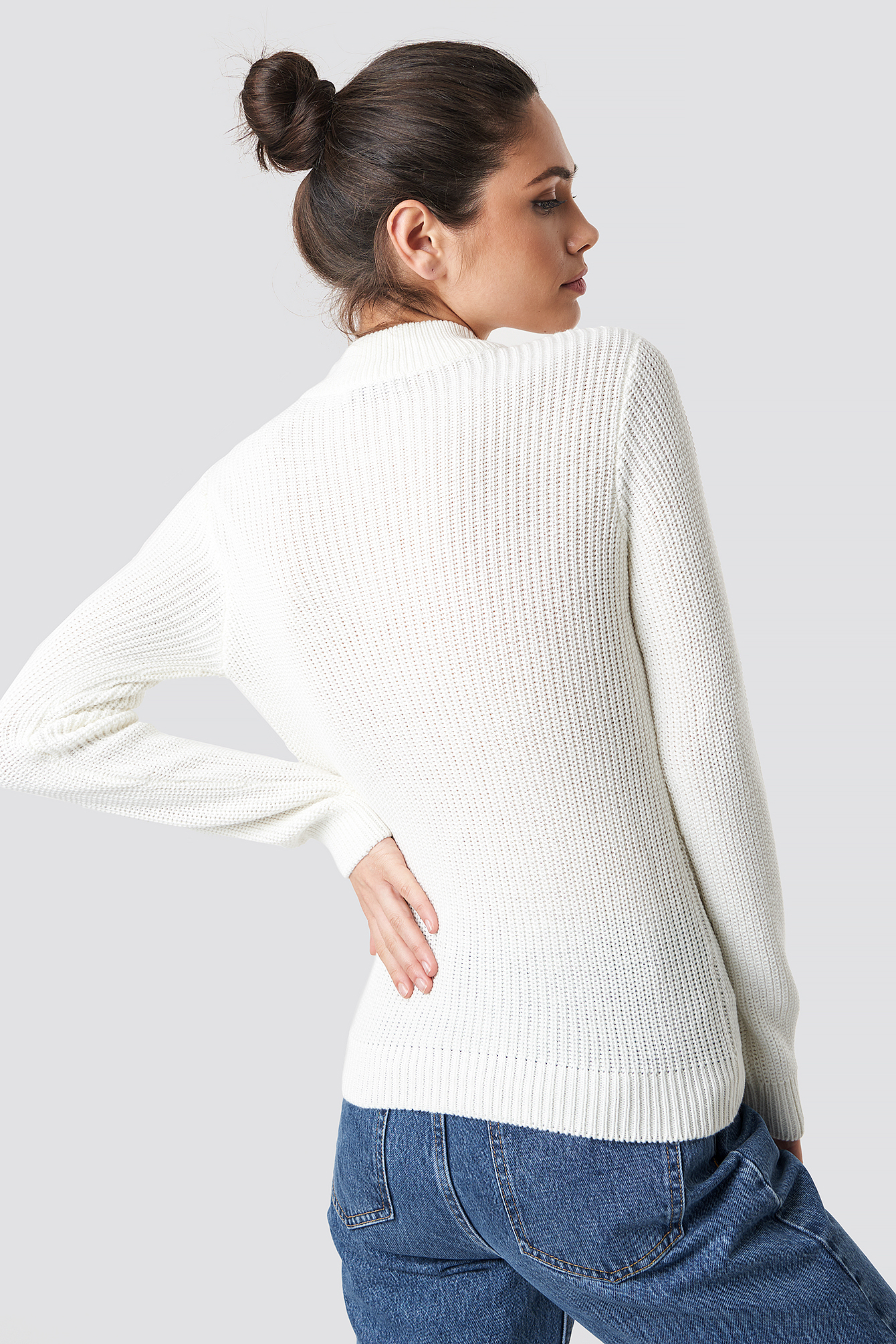 Offwhite Long Sleeve Knitted Sweater