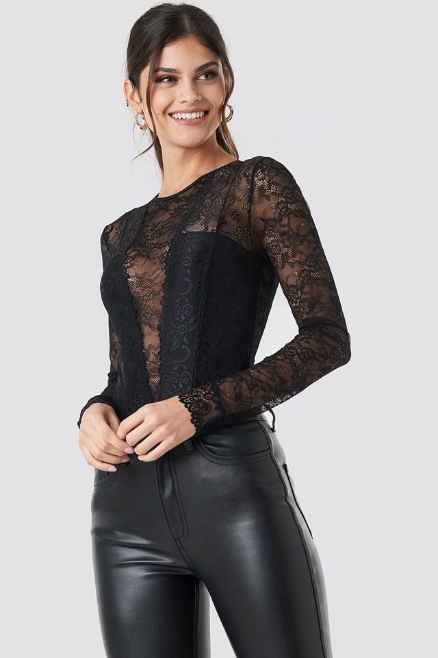 Long Sleeve Lace Bodysuit Black