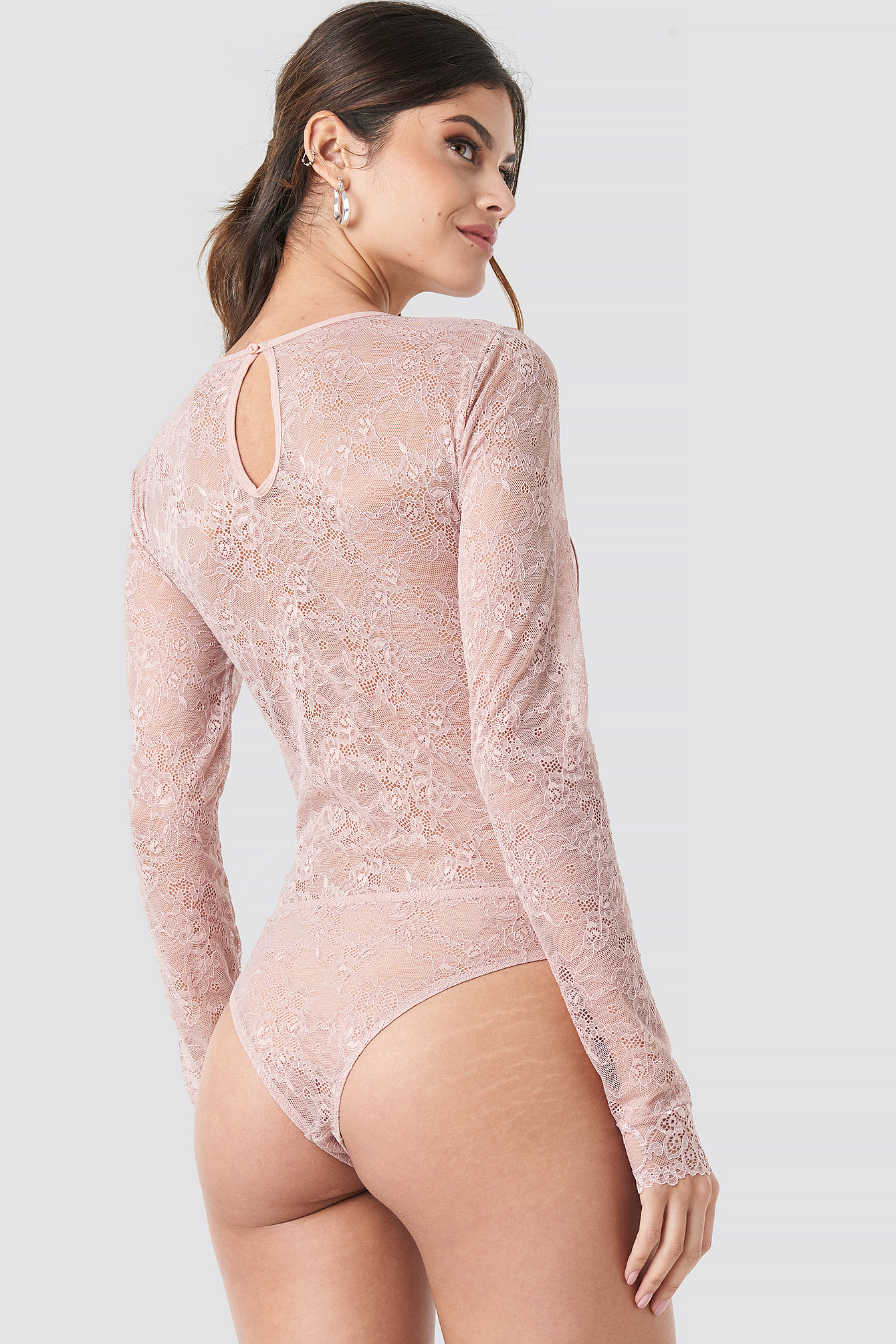 Long Sleeve Lace Bodysuit NA-KD.COM