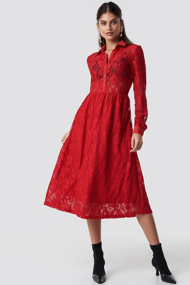 Long Sleeve Lace Midi Dress NA-KD.COM