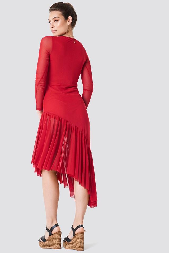 Long Sleeve Mesh Dress Red