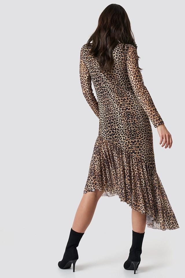 Siateczkowa sukienka z długim rękawem Leopard