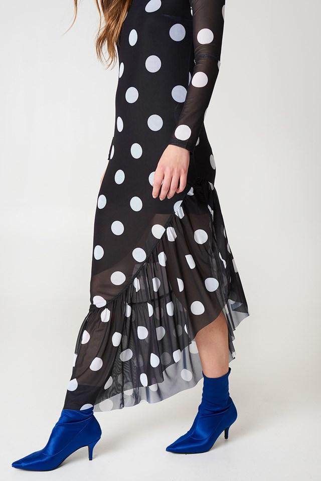 Long Sleeve Mesh Dress Black/White dots