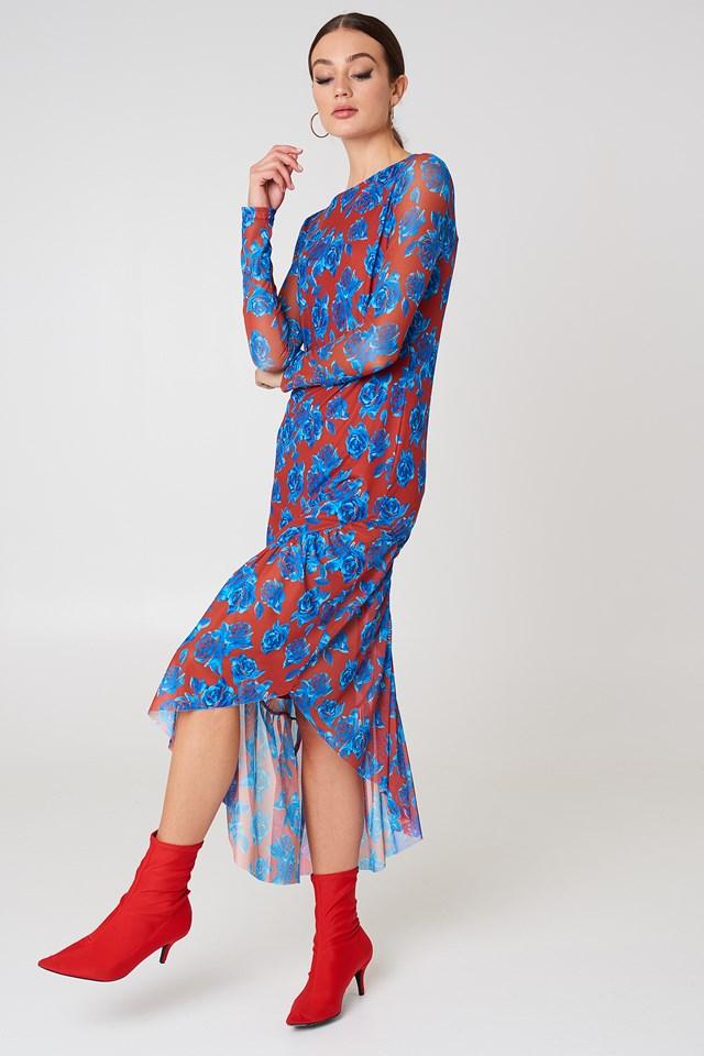 Siateczkowa sukienka z długim rękawem Red/Blue