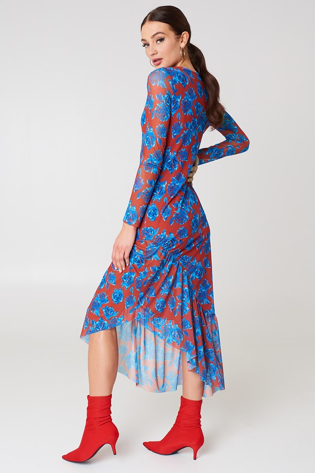 Long Sleeve Mesh Dress Red/Blue