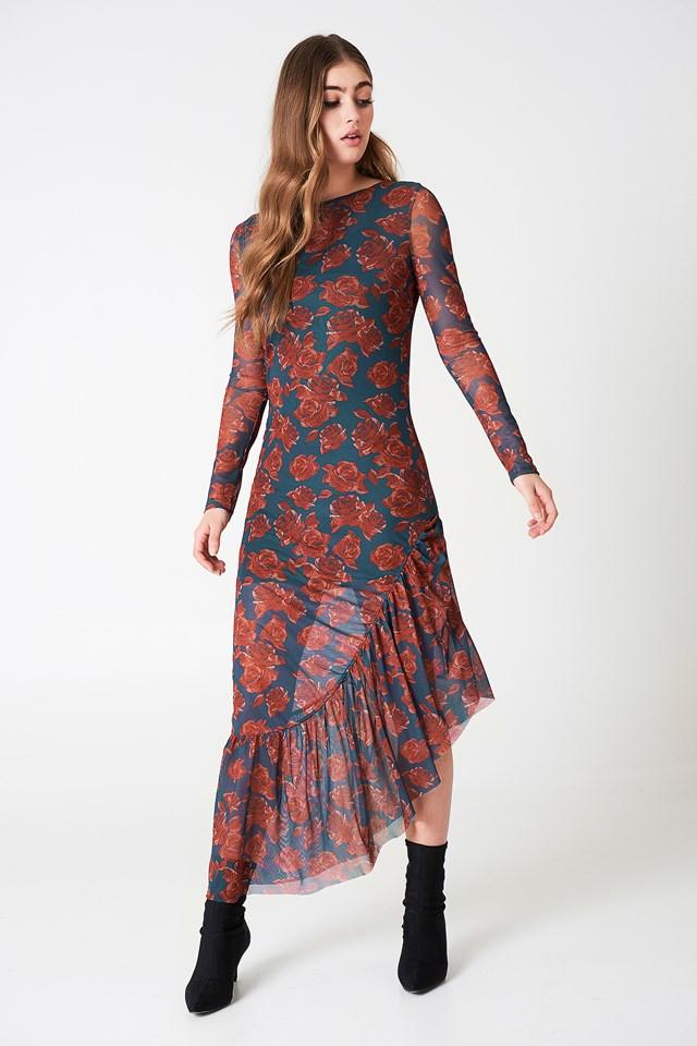 Long Sleeve Mesh Dress Petrol