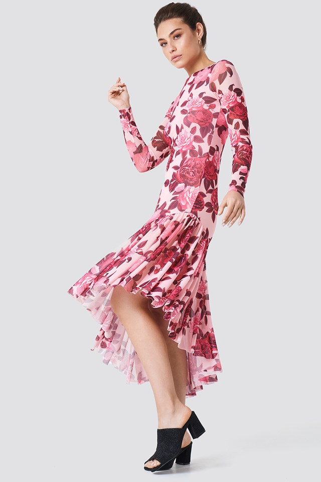 Long Sleeve Mesh Dress Dusty Pink Rose