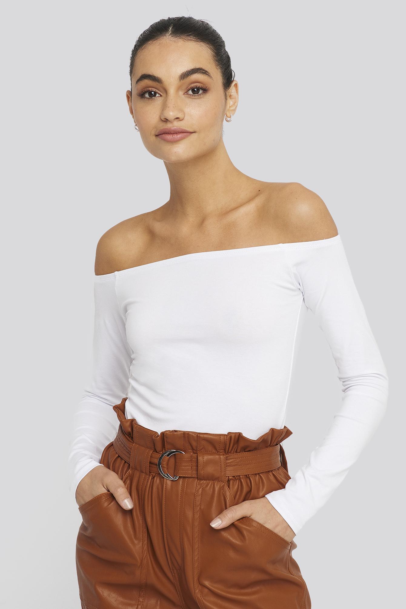 na-kd basic -  Long Sleeve Off Shoulder Top - White