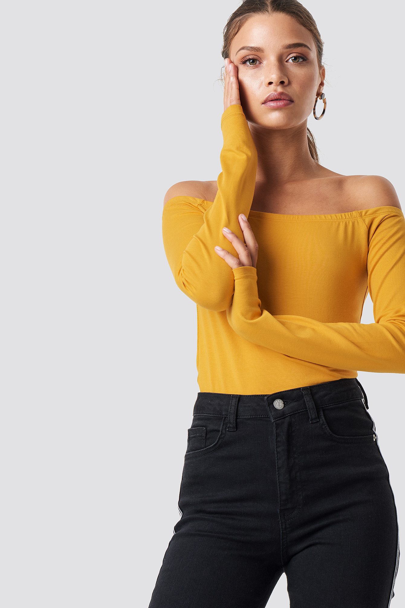 na-kd basic -  Long Sleeve Off Shoulder Top - Yellow
