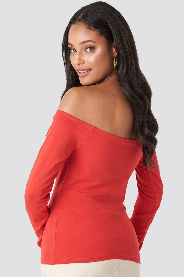 Long Sleeve Off Shoulder Top Bright Red