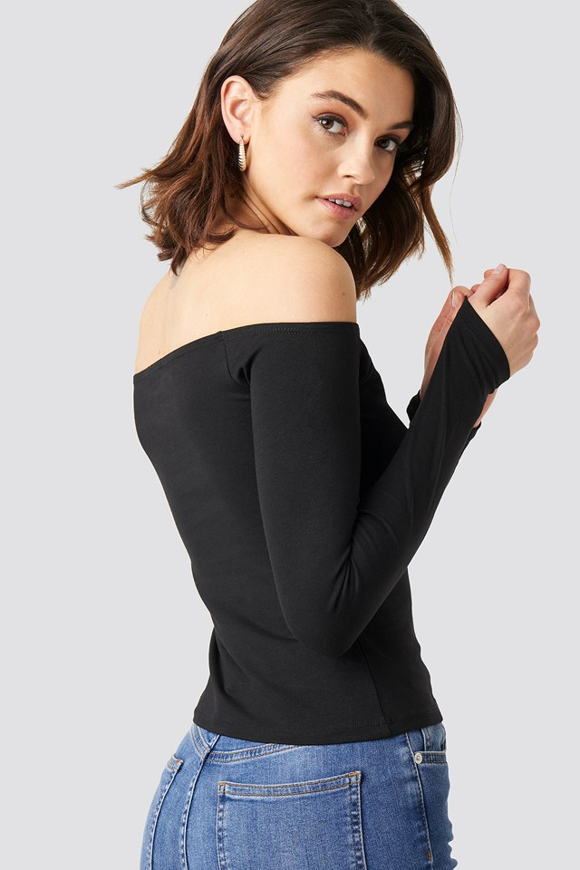 Long Sleeve Off Shoulder Top Black