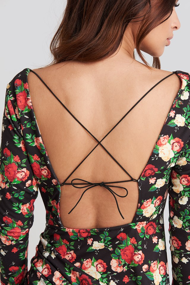 Long Sleeve Open Back Jersey Dress Floral Print