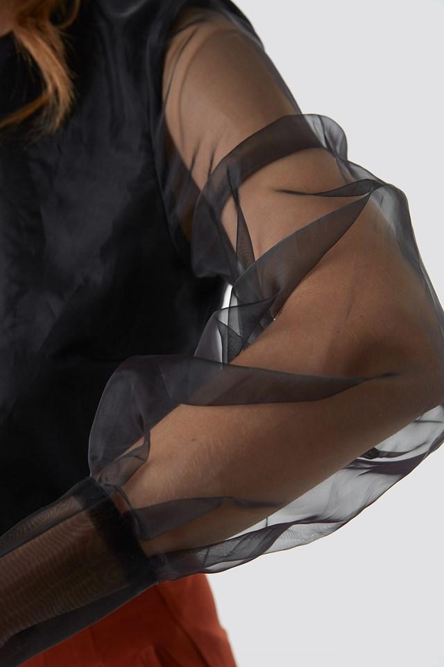 Long Sleeve Organza Blouse Black