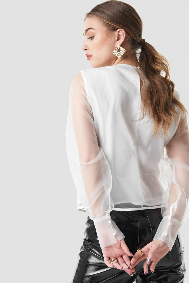 Long Sleeve Organza Blouse White